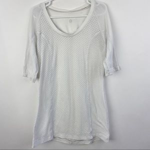 Lululemon white running short sleeve t shirt
